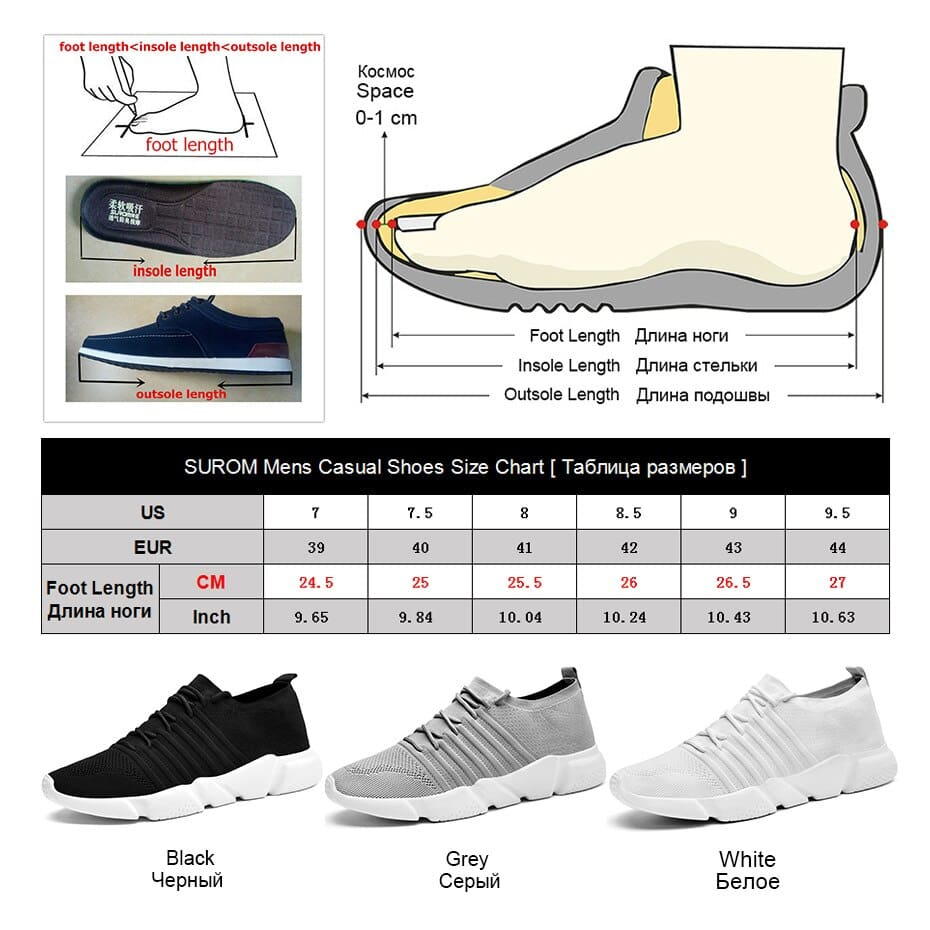 Mens Comfort Sneakers Lightweight Mesh