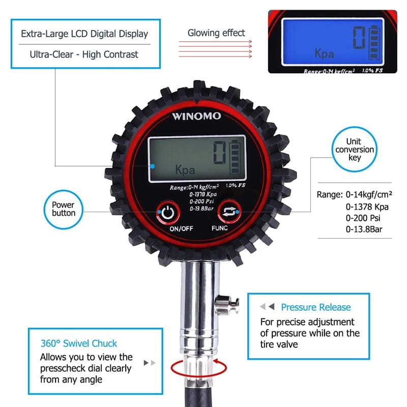 Universal Digital Tire Pressure Gauge 200 PSI