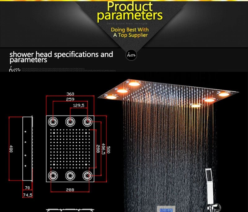 Digital Thermostatic Shower Set Controller Touch Control Panel Modern Luxury European Style SUS304 Rainfall Bathroom Led Ceiling