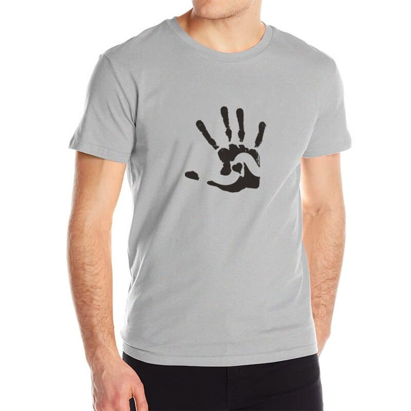 Mens T-Shirt Short Sleeve - Print Hand