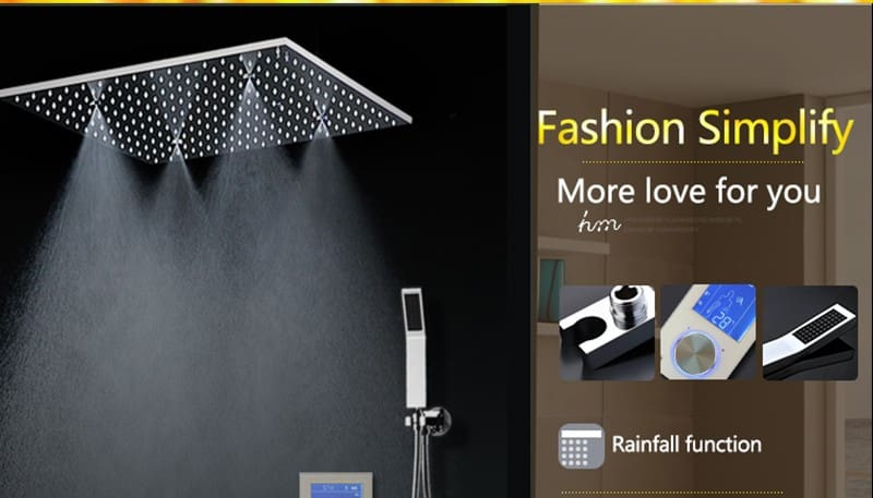 Bathroom Shower Head with 3 Ways Intelligent Digital Concealed Faucet 20 SPA Mist Rainfall Thermostatic Set Touch Panel Mixer