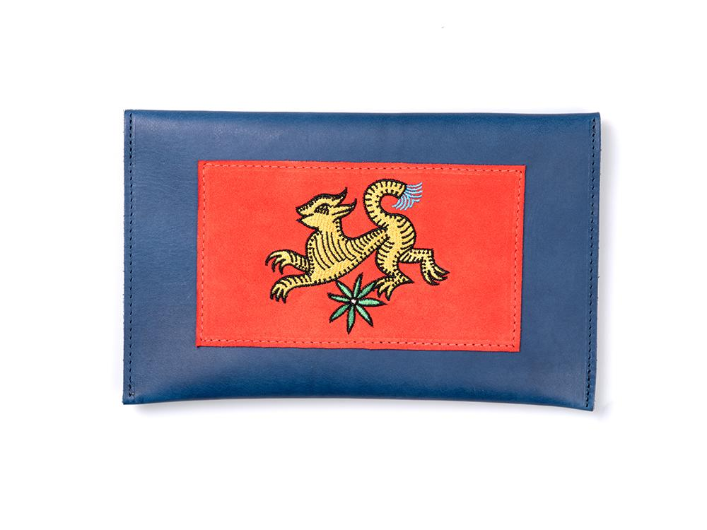 Bichon Pocket- Dragon Red on Blue