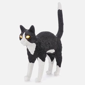 Jobby the cat lamp- Black & White