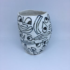 Smiley Face Ceramic Vase
