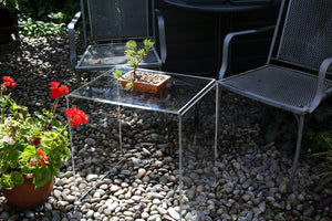 Premium Range Perspex® Acrylic Side Tables. Clear Acrylic & Glass Effect