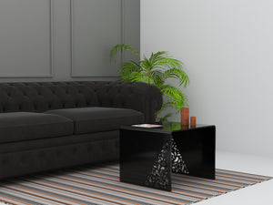 floral detail black acrylic coffee table