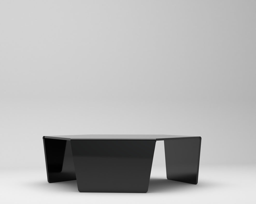 Hexagonal Perspex® Acrylic Tables. In Black or White