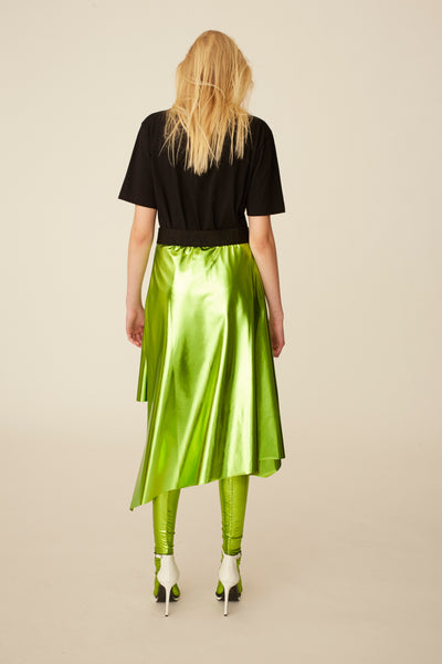 Bias Skirt Green Metallic