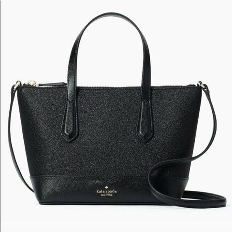 Kate Spade Lola Glitter Satchel Crossbody In Black