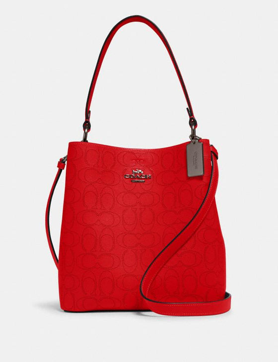 Coach Town Bucket Bag In Signature Red Black