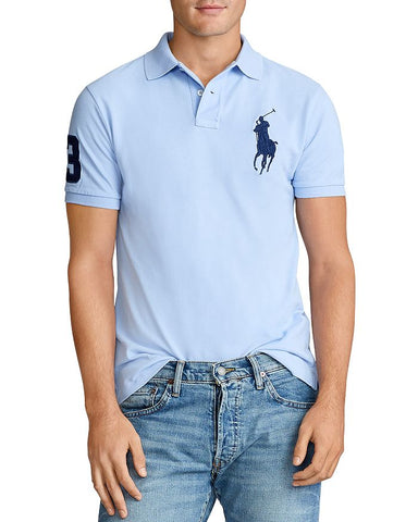 Polo Big Pony Custom Slim Fit Mesh In Austin Blue
