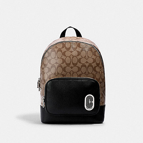 Coach Court Backpack In Signature Khaki Black
