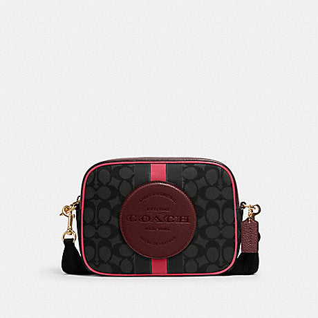 Coach Dempsey Camera Bag In Signature Jacquard Black Wine Multi