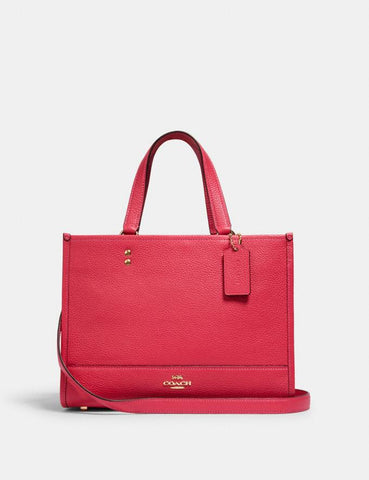 Coach Dempsey Carryall In Leather Electric Pink