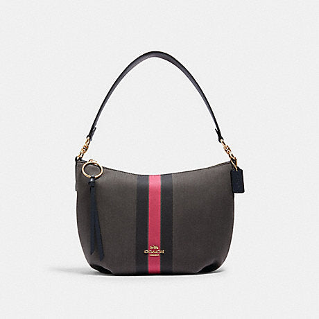 Coach Small Skylar Hobo With Varsity Stripe In Black Electric Pink