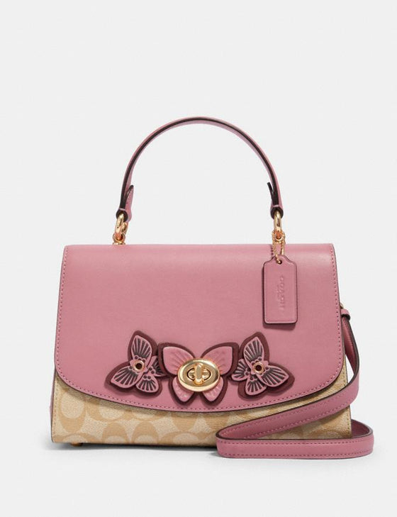 Pre-order ETA 7 Jun: Coach Tilly Top Handle In Signature Light Khaki With Butterfly Applique