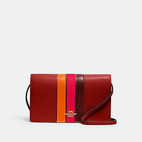 Coach Anna Foldover Crossbody Clutch With Varsity Stripe In Terracotta Electric Pink Multi