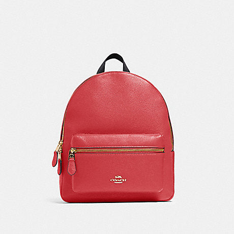 Coach Charlie Medium Backpack In Poppy