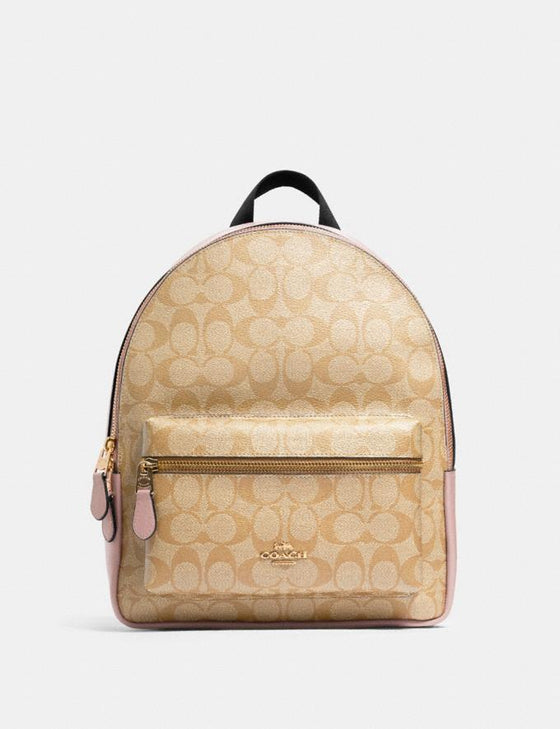 Coach Medium Charlie Backpack In Signature Light Khaki Blossom