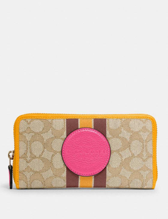 Coach Accordion Zip Wallet In Signature Jacquard With Stripe And Coach Patch In Light Khaki Electric Pink