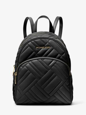 Michael Kors Abbey Black Quilted Medium Backpack Silver Hardware