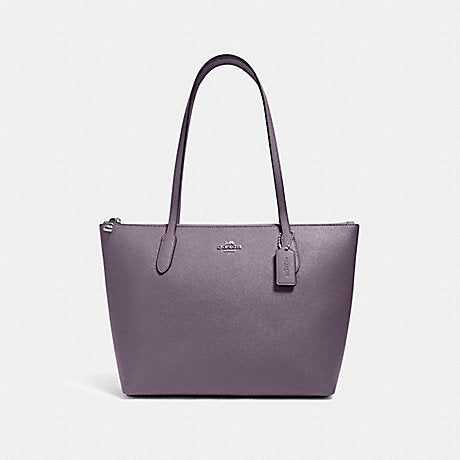 Coach Zip Top Tote In Vintage Purple