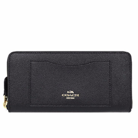 Coach Accordion Zip Wallet In Crossgrain Leather Black