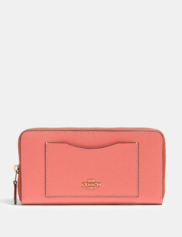 Coach Accordion Zip Wallet In Bright Coral