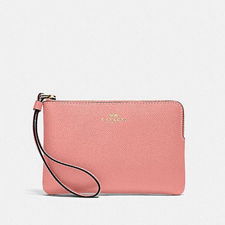 Coach Small Single Corner Zip Wristlet In Leather Light Blush