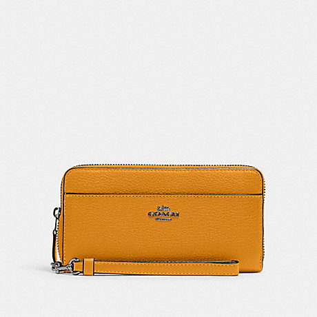 Coach Accordion Zip Wallet With Strap In Yellow
