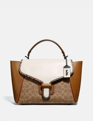 Coach Courier Carryall In Colorblock Signature Tan Chalk Multi With Snakeskin Detail