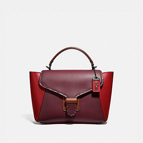 Coach Courier Carryall In Colorblock Leather With Snakeskin Detail Red Apple Multi