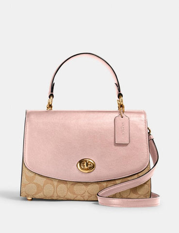 Coach Tilly Top Handle Satchel In Signatuture Light Khaki Blossom