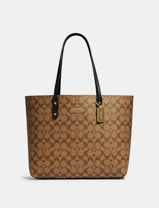 Coach Town Tote In Signature Khaki Black