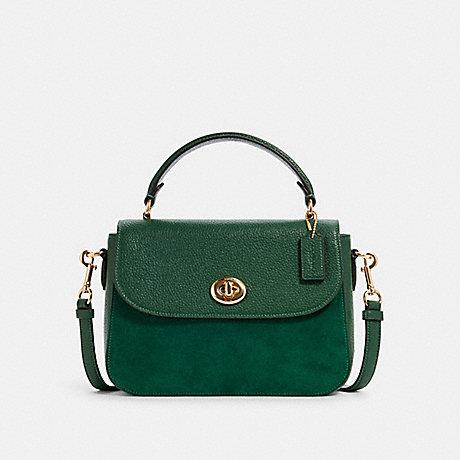 Coach Marlie Top Handle Satchel Suede Leather In Kelly Green