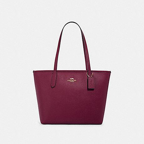 Coach City Zip Tote in Crossgrain Leather Dark Berry