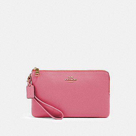 Coach Double Zip Large Wristlet In Pebbled Leather Rose