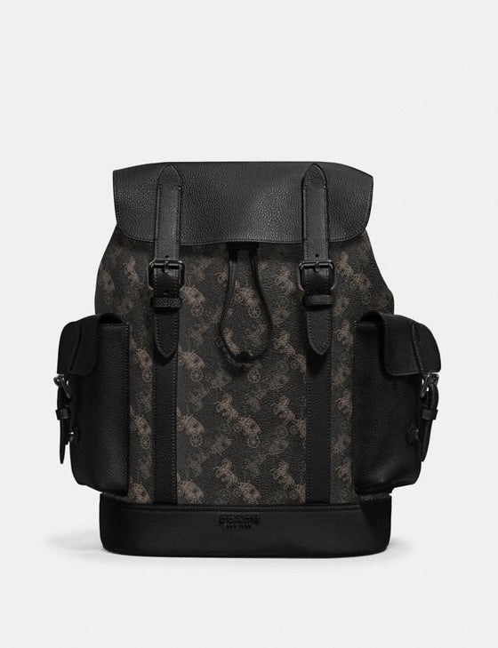 Coach Hudson Backpack With Horse And Carriage Print Black