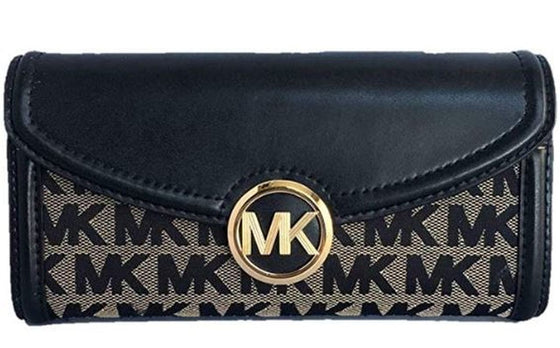 Michael Kors Fulton Jacquard Large Flap Continental Wallet In Beige/Black