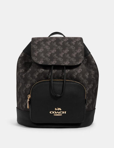 Coach Jes Backpack With Horse And Carriage Print Black Gray