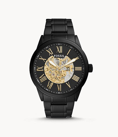 Fossil Men Flynn Automatic Black Stainless Steel Watch BQ2092
