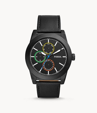 Fossil Men Geoff Multifunction Black Leather Watch BQ2358