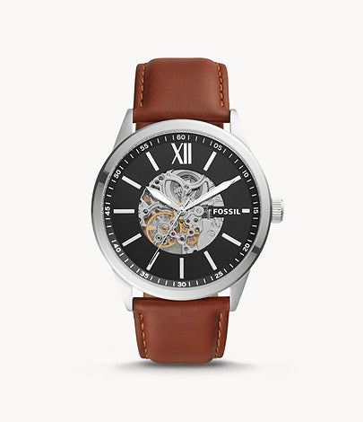 Fossil Men 48mm Flynn Automatic Brown Leather Watch BQ2386
