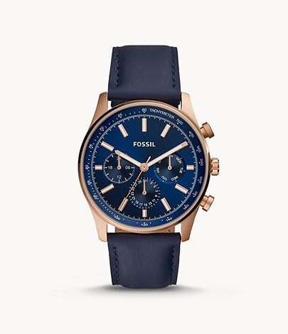 Men Sullivan Multifunction Navy Leather Watch BQ2449