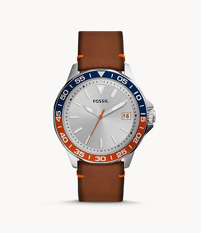 Fossil Men Bannon Three-Hand Date Luggage Leather Watch BQ2521