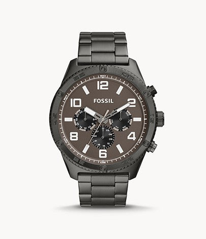 Fossil Men Brox Multifunction Smoke Stainless Steel Watch BQ2533