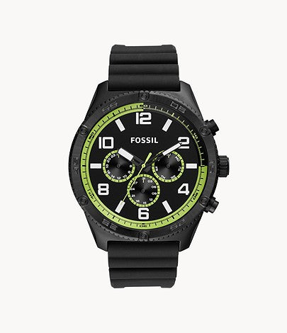 Fossil Men Brox Multifunction Black Silicone Watch BQ2534