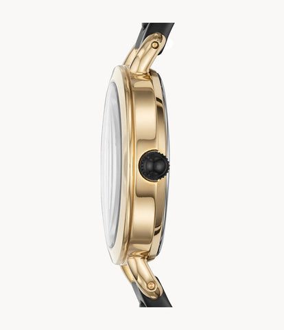 Fossil Classic Minute Three-Hand Rose-Gold-Tone Black BQ3027