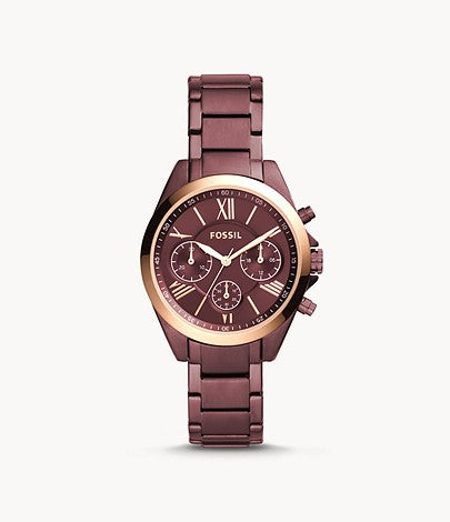 Women Modern Courier Midsize Chronograph Wine Stainless Steel Watch BQ3281