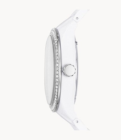 Women Caleigh Multifunction White Acetate Watch